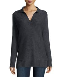 Tory Burch | Gray Long-Sleeved Henley Tunic | Lyst