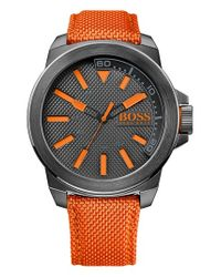 BOSS Orange - Orange Round Nylon Strap Watch for Men - Lyst