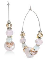 INC International Concepts - Metallic Silver-tone Beaded Hoop Earrings - Lyst