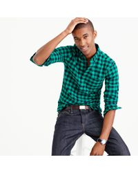 J.Crew | Green Slim Vintage Oxford Shirt In Buffalo Check for Men | Lyst