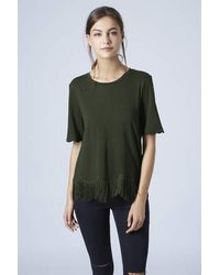 TOPSHOP - Green Fringe Scallop Tee - Lyst