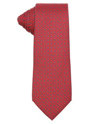 Hermès - Red And Grey Rope Print Silk Tie for Men - Lyst