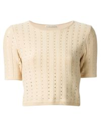 Alice + Olivia - Natural Cropped Perforated T-Shirt - Lyst