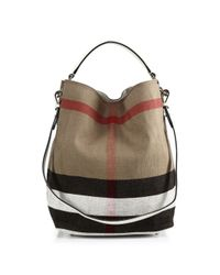 ed75f413b017 Lyst - Burberry Ashby Medium House Check Canvas Shoulder Bag in Natural