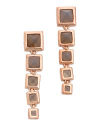 Eddie Borgo | Metallic Graduated Pyramid Drop Earrings Matte Grey Agate | Lyst