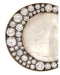 Noor Fares - Metallic Eclipse Diamond And Moonstone Ring - Lyst