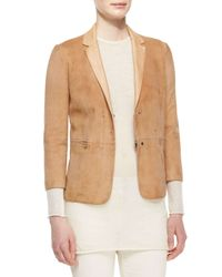 The Row - Natural 3/4-sleeve Suede Jacket - Lyst