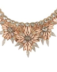 L'Inde Le Palais - Metallic Embroided Necklace With Stones - Lyst