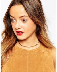 ASOS - Metallic Curved Bar Choker Necklace - Lyst