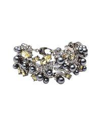 St. John | Metallic Swarovski Crystal & Glass Pearl Bracelet | Lyst