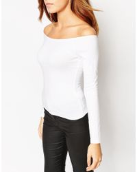 ASOS - White The Off Shoulder Top With Long Sleeves - Lyst