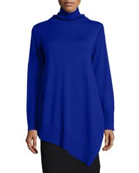 Eileen Fisher - Blue Long-sleeve Merino Asymmetric Turtleneck Tunic - Lyst