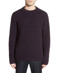 Zachary Prell - Purple 'baker Street' Flecked Wool & Cashmere Crewneck Sweater for Men - Lyst