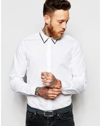 ASOS - White Smart Shirt In Long Sleeve With Double Collar for Men - Lyst
