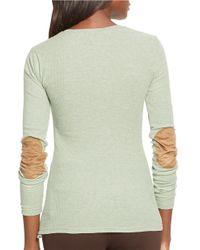 Lauren by Ralph Lauren | Green Cotton Crewneck Shirt | Lyst