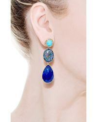 Andrea Fohrman - Blue Unique Turquoise Oval Australian Opal with Rosecut Diamonds Earrings - Lyst