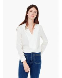 Mango - White Flowy Textured Blouse - Lyst