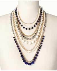 Ann Taylor - Blue Pearlized Navy Statement Necklace - Lyst