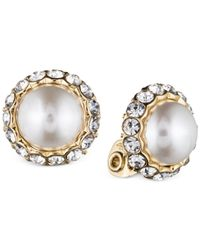 Anne Klein | Metallic Gold-tone Plastic Pearl Button Earrings | Lyst