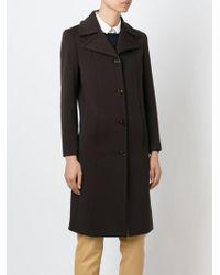 Prada - Brown Single-Breasted Wool Coat - Lyst