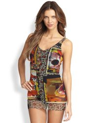 Jean Paul Gaultier | Red Onepiece Foto Patchprint Swimsuit | Lyst