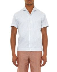 Façonnable - Blue Striped Waffle-Weave Shirt for Men - Lyst