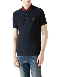 Gucci | Blue Cotton Piquet Polo for Men | Lyst