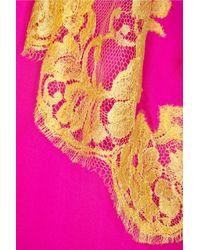 Rosamosario - Pink Bling Bling Love Silk-Chiffon Chemise - Lyst