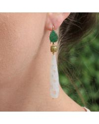 Sylva & Cie - Green Agate Drop Earrings - Lyst