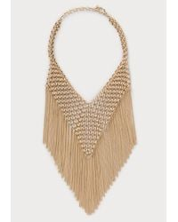 Bebe | Metallic Chainmail & Fringe Necklace | Lyst