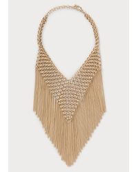 Bebe - Metallic Chainmail & Fringe Necklace - Lyst