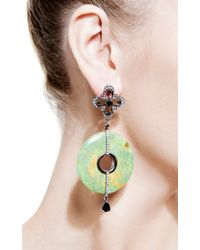 Bochic - Green Turquoise and Diamond Earrings - Lyst