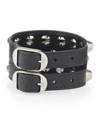 Balenciaga - Gray Giant 12 Triple-row Leather Bracelet - Lyst