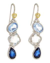 Judith Ripka | Blue Quartz, Crystal & Corundum Triple-Drop Earrings | Lyst