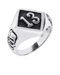 Aeravida - Metallic Lucky Number 13 Round Skull Sterling Silver Ring - Lyst