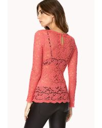 Forever 21 - Pink Darling Floral Lace Top - Lyst