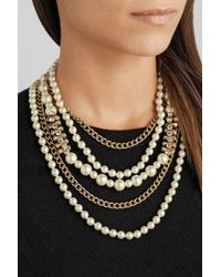 Kenneth Jay Lane | White Gold-Plated, Swarovski Crystal And Faux Pearl Necklace | Lyst