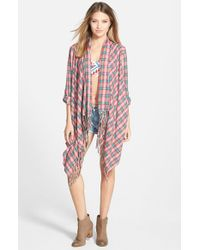 Billabong | Red 'live It Up' Flannel Cardigan | Lyst