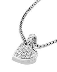 David Yurman - Metallic Cable Heart Pendant With Diamonds - Lyst