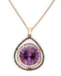 Effy | Purple Lavender Rose 14kt. Rose Gold Amethyst Pendant Necklace With Brown And White Diamonds | Lyst
