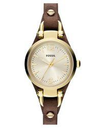 Fossil | Metallic 'small Georgia' Leather Strap Watch | Lyst