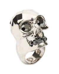 Alexander McQueen - Metallic Textured Skull Ring - Lyst