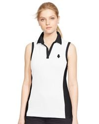 Lauren by Ralph Lauren | Black Sleeveless Cotton Polo Shirt | Lyst