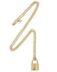 Michael Kors | Metallic Gold Tone Padlock Necklace | Lyst