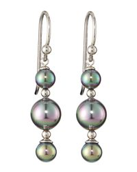 Majorica | Gray Triple-tier Earrings | Lyst