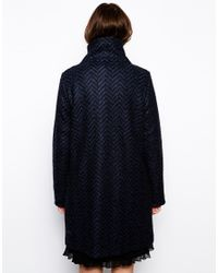 BOSS Orange - Blue Orandana Coat In Chevron Wool With Popper Fastening - Lyst
