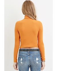Forever 21 | Orange Turtleneck Crop Top | Lyst