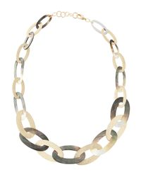 Fragments | Gray Oval Shell Link Necklace | Lyst