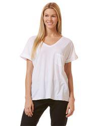 C&C California | White Raw Edge Roll-sleeve T-shirt | Lyst