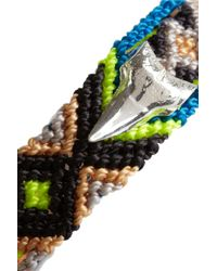 Dezso by Sara Beltran | Blue Shark Tooth Woven Cotton And Silver Friendship Bracelet | Lyst